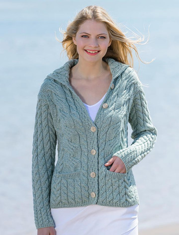 Cable Knit Button-Up Cardigan - Sea Foam Green