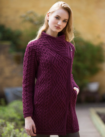 Cable Knit Coatigan with Celtic Knot Side Zip - Wine