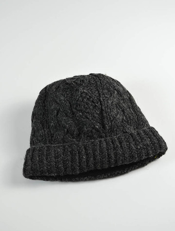 Aran Fleece Lined Rib Cap - Charcoal