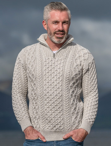 Heavyweight Merino Wool Aran Troyer - Silver Marl