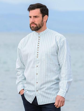 Grandfather Shirt - Blue & Green Pin Stripe