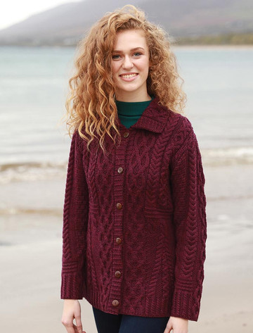 Cable Aran Cardigan with Buttons