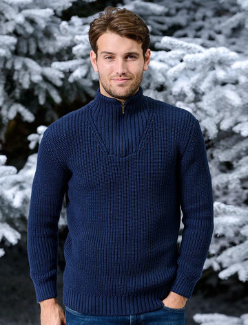 Ribbed Merino Troyer - Navy