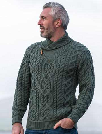 Aran Zip Shawl Neck Sweater - Tundra