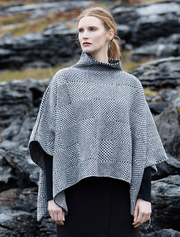Shadow Blocked Mock Neck Poncho - Pebble