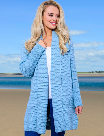 Textured Merino Cardigan - Morning Sky