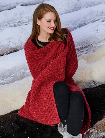 Wool Cashmere Aran Throw - Red