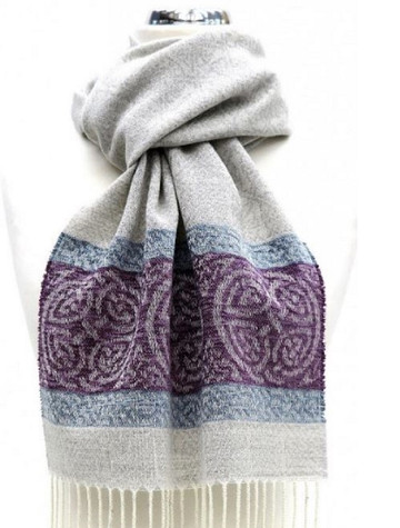 GlenAran Celtic Border Pattern Scarf - Artic grey