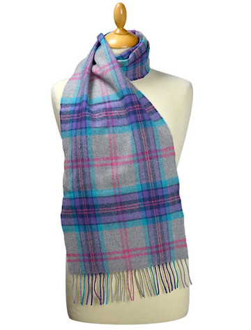 Fine Merino Plaid Scarf - Grey Blue Purple