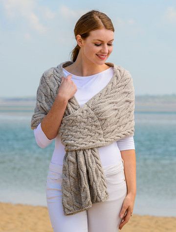 Super Soft Cabled Shawl - Toasted Oat