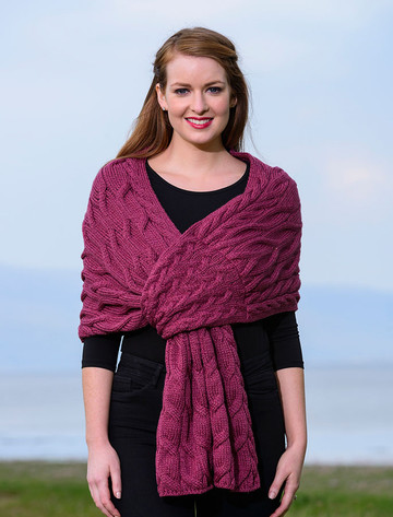 Super Soft Cabled Shawl - Jam