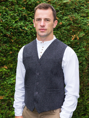 Tweed Herringbone Waistcoat - Grey