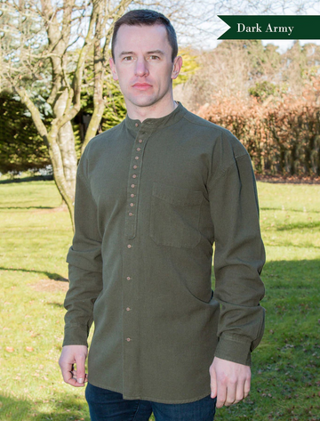 Grandfather Shirt - Army Green