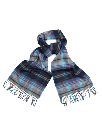 Fine Merino Scarf - Sky, Navy and Grey