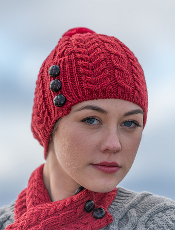 Merino Pom Pom Hat - Chillipepper