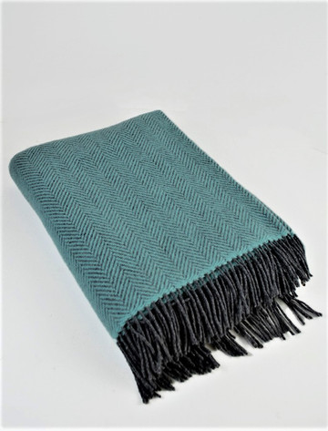 Cashmere Wool Throw - Pale Blue Herring