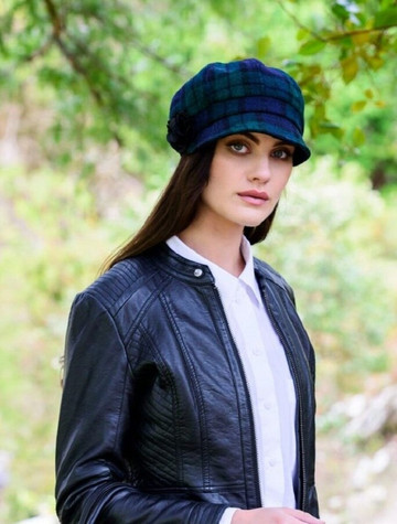 Ladies Tweed Newsboy Hat - Blackwatch