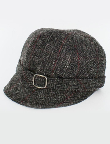 Ladies Tweed Flapper Cap - Charcoal with Red