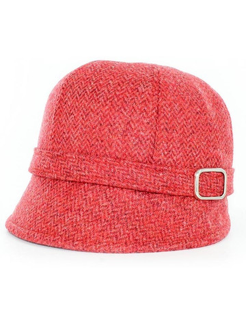 Ladies Tweed Flapper Cap - Red