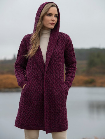 Ladies Herringbone Design Shawl Hood - Purple Mix