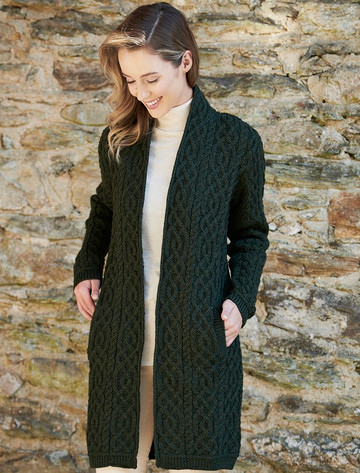 Ladies Plated Aran Cable Knit Coat - Army Green