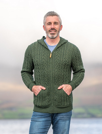 Mens Hooded Aran Cardigan - Army Green