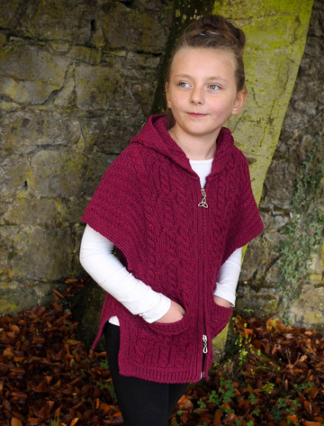 Kid's Hooded Aran Cape - Raspberry