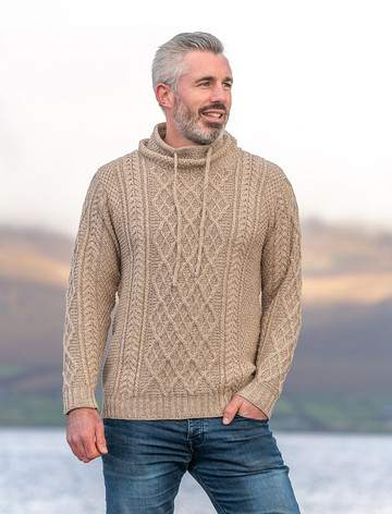 Mens Drawcord Collar Aran Sweater - Wicker