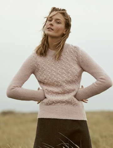 Wool Cashmere Cable Round Neck Sweater - Pink Mist