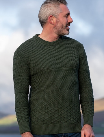 Men's Merino Textured Crew Neck Sweater - Mountain Green