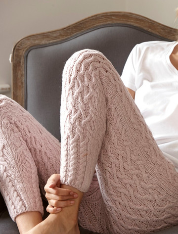 Wool Cashmere Aran Cable Leggings - Pink Mist