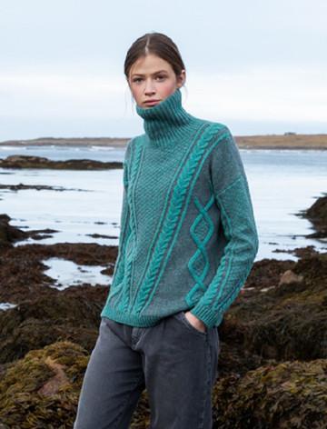 Women's Aran Plated Sweater - Jade