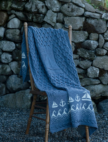 Wool Honeycomb Wild Atlantic Throw - Denim White