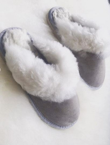 Women's Open Irish Sheepskin Slippers with Rubber Soles - Light Grey