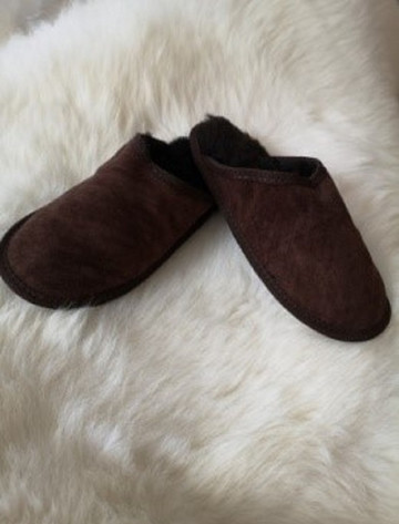 Men's Open Irish Sheepskin Slippers - Brown