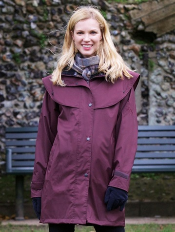 Skellig Ladies Waterproof 3/4 Coat - Blackberry