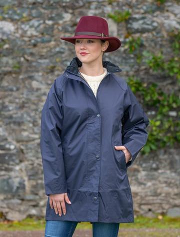 Trinity Ladies Waterproof 3/4 Coat - Navy
