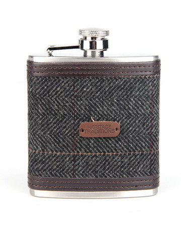 Tweed Hip Flask - Grey Herringbone