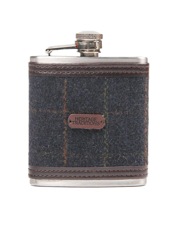 Tweed Hip Flask - Blue Box Check