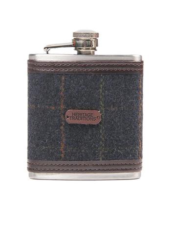Tweed Hip Flask - Blue Box Check