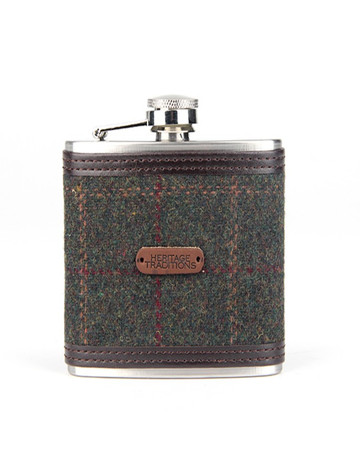 Tweed Hip Flask - Green Box Check (FL98)