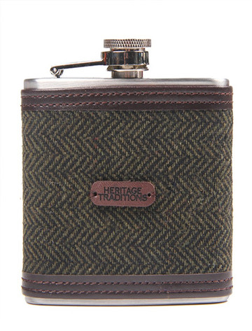 Tweed Hip Flask - Green Herringbone (FL124)