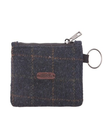 Tweed Coin Purse- Blue Box Check