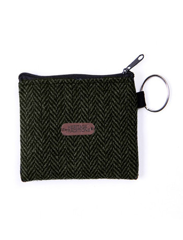 Tweed Coin Purse- Green Herringbone
