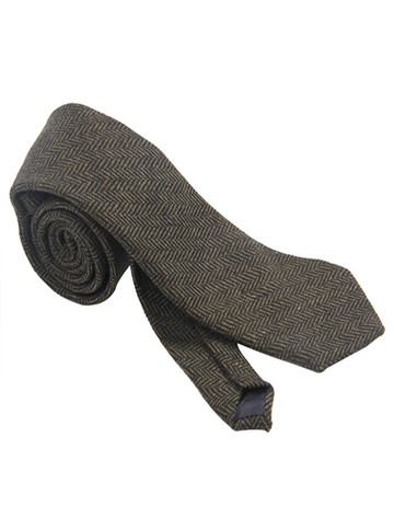 weed Neck Tie- Green Herringbone