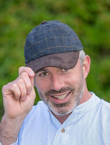 Tweed / Suede Blue Box Check Baseball Cap