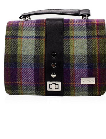 Fiona Tweed Bag - Green and Purple Plaid
