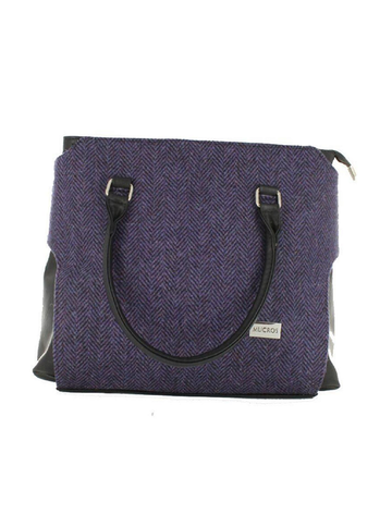 Emily Tweed & Leather Bag - Purple Herringbone