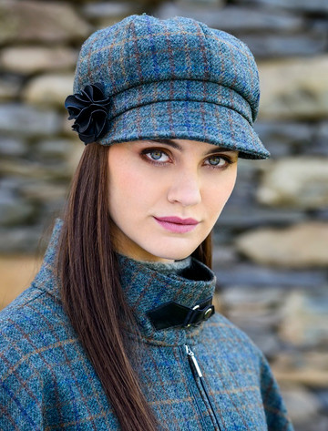 Ladies Tweed Newsboy Hat - Green Navy & Brown Plaid