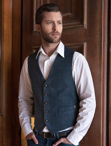 Irish Tweed Herringbone Waistcoat - Denim & Rust Check